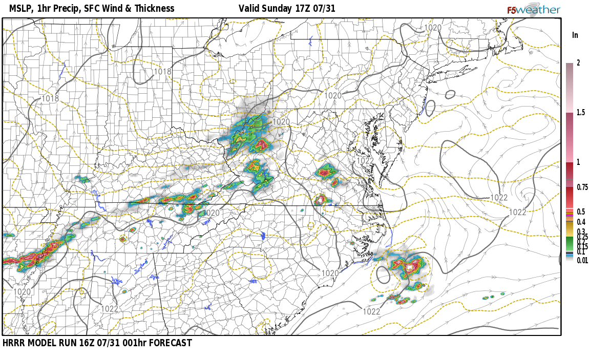 Current surface weather map around Leslie County, KY