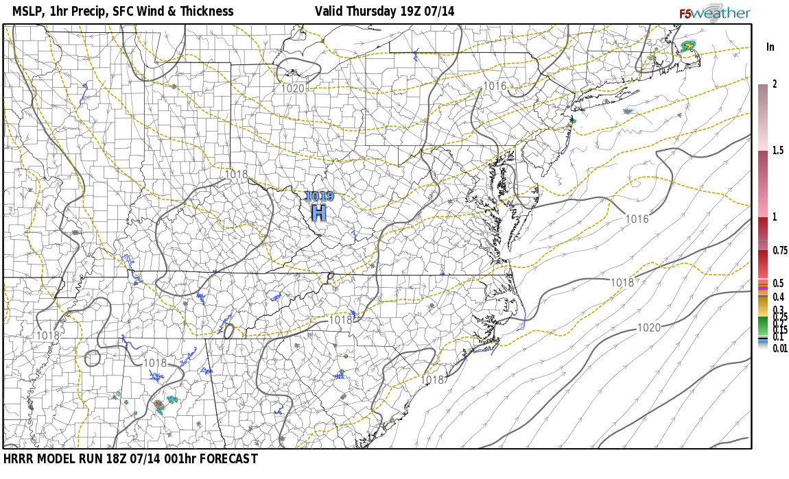 Current surface weather map around Bell County, KY