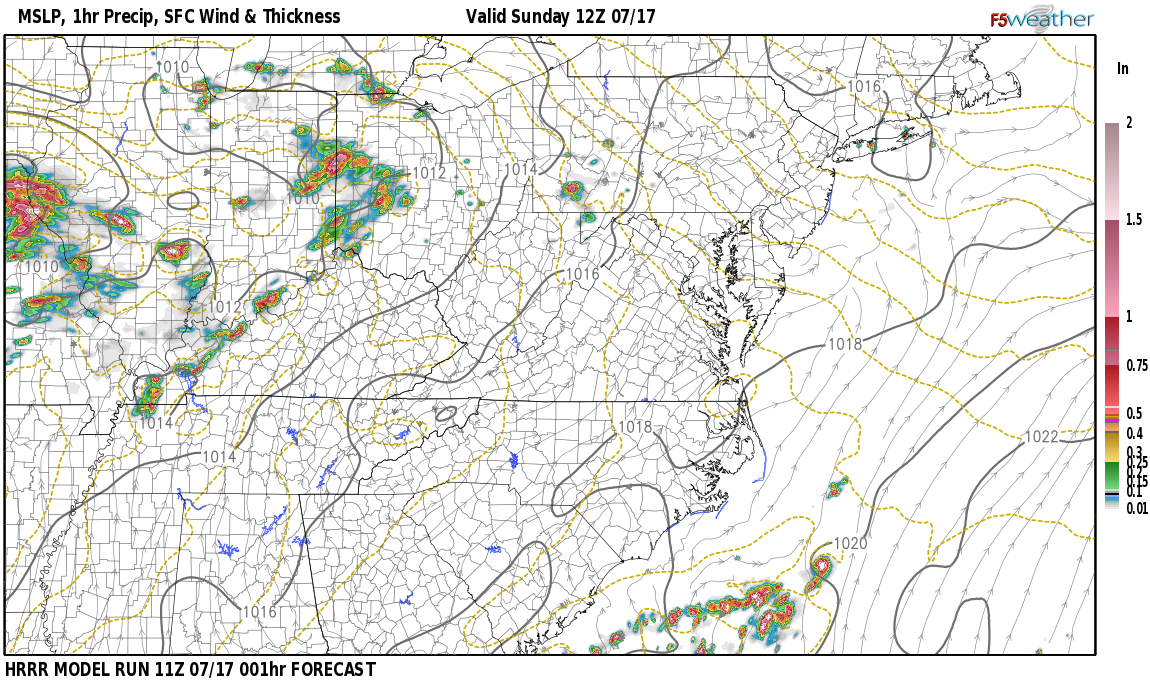 Current surface weather map around Jefferson County, KY