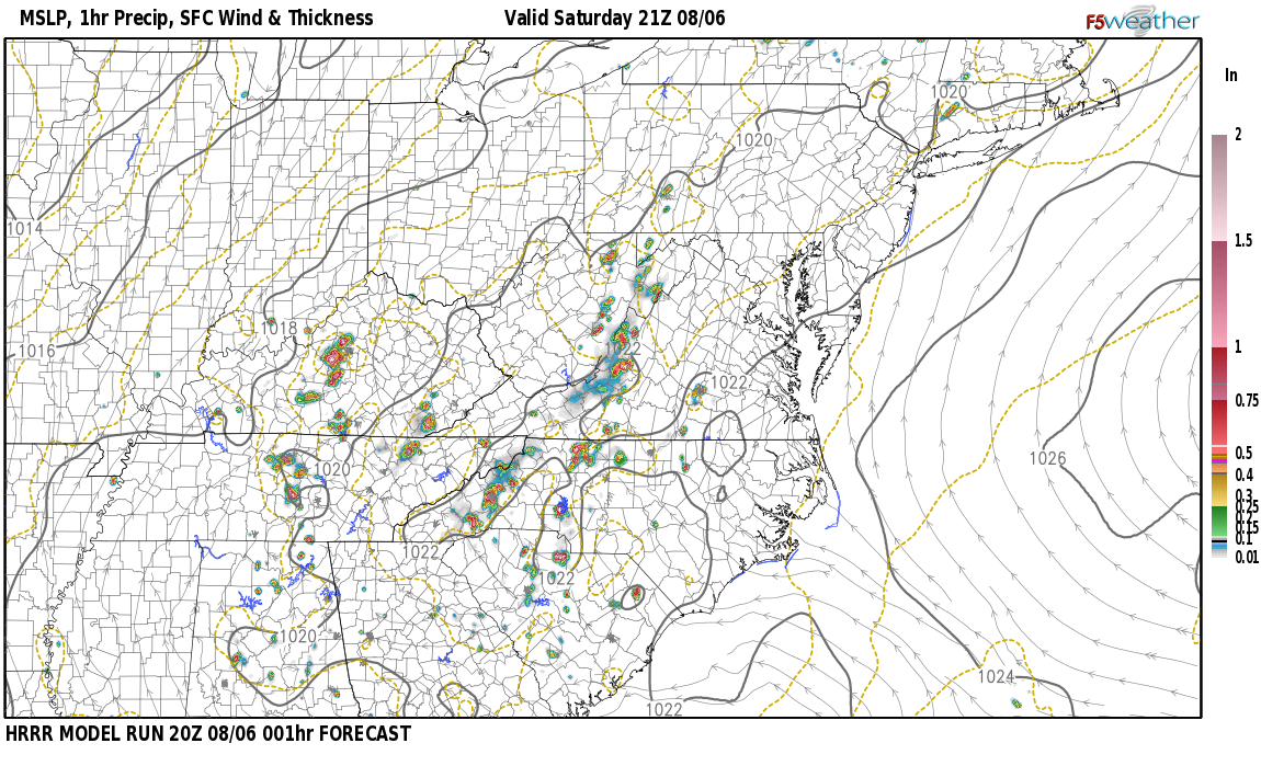 Current surface weather map around Russell County, KY