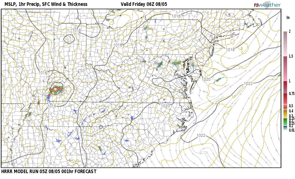 Current surface weather map around Daviess County, KY