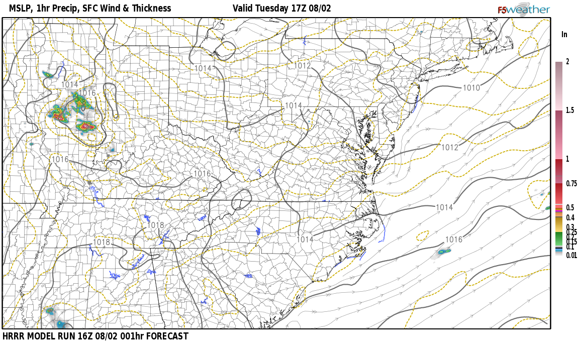 Current surface weather map around Hardin County, KY