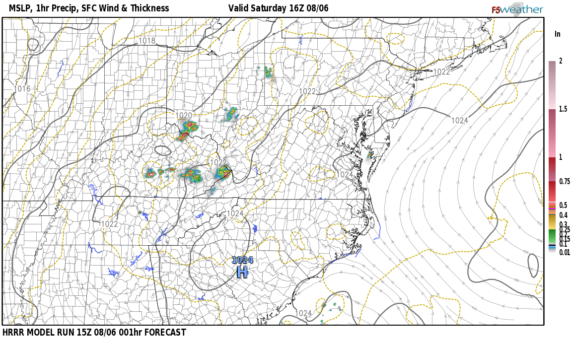 Current surface weather map around Rowan County, KY