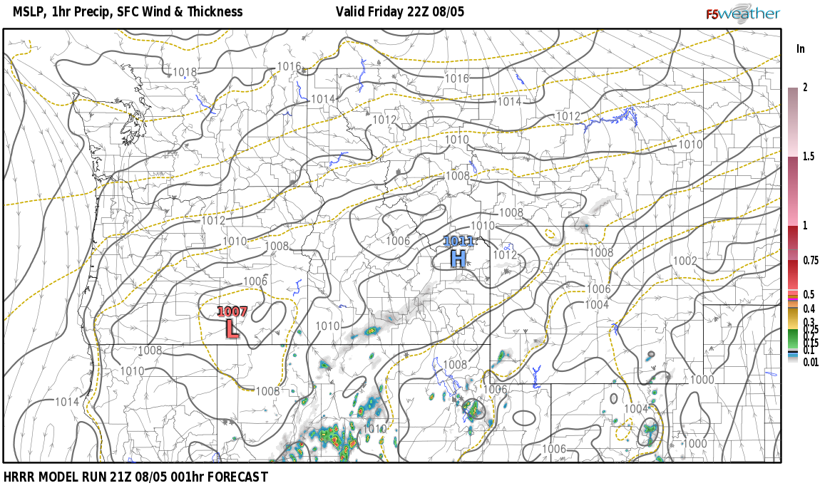 Current surface weather map around Pershing County, NV