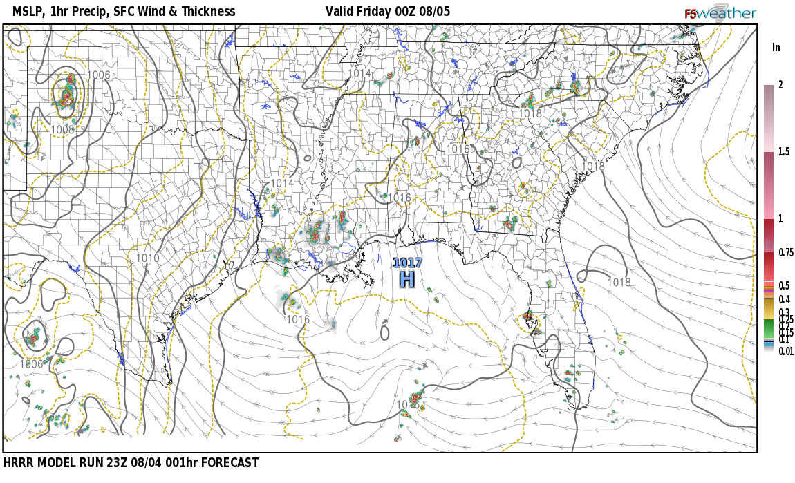 Current surface weather map around Talladega County, AL