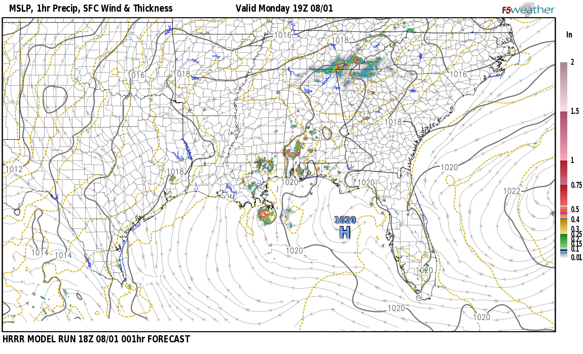 Current surface weather map around Choctaw County, AL