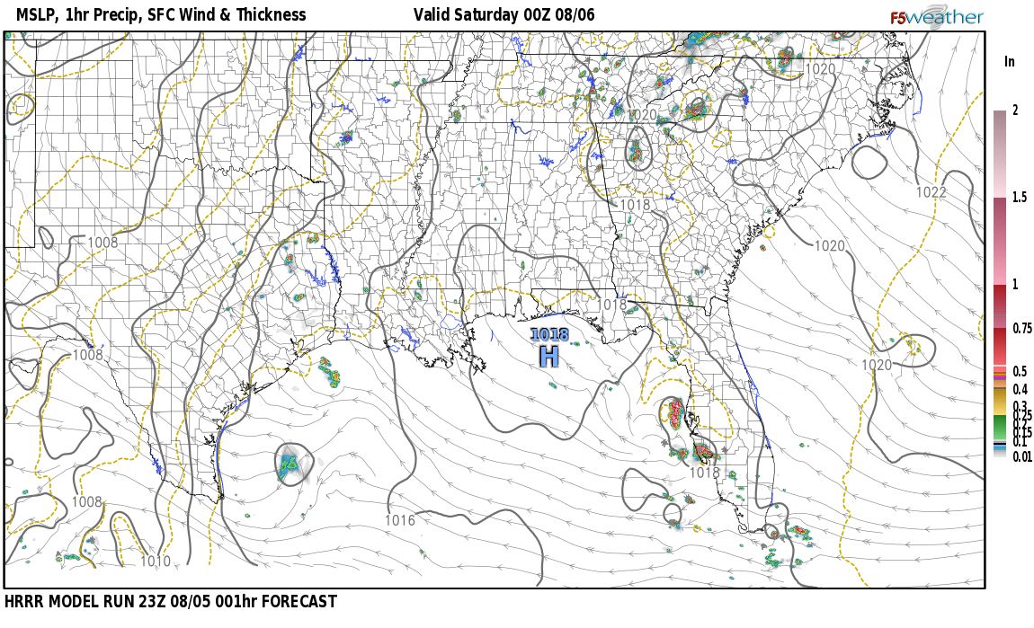 Current surface weather map around Montgomery County, AL