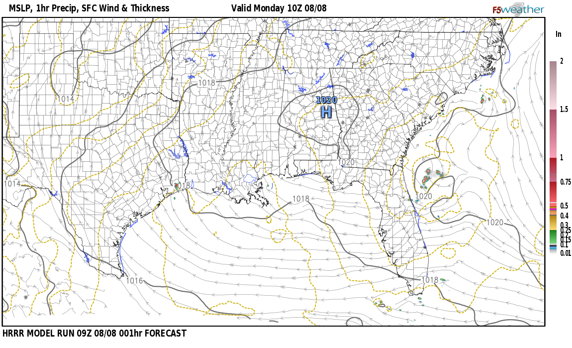 Current surface weather map around Jackson County, AL