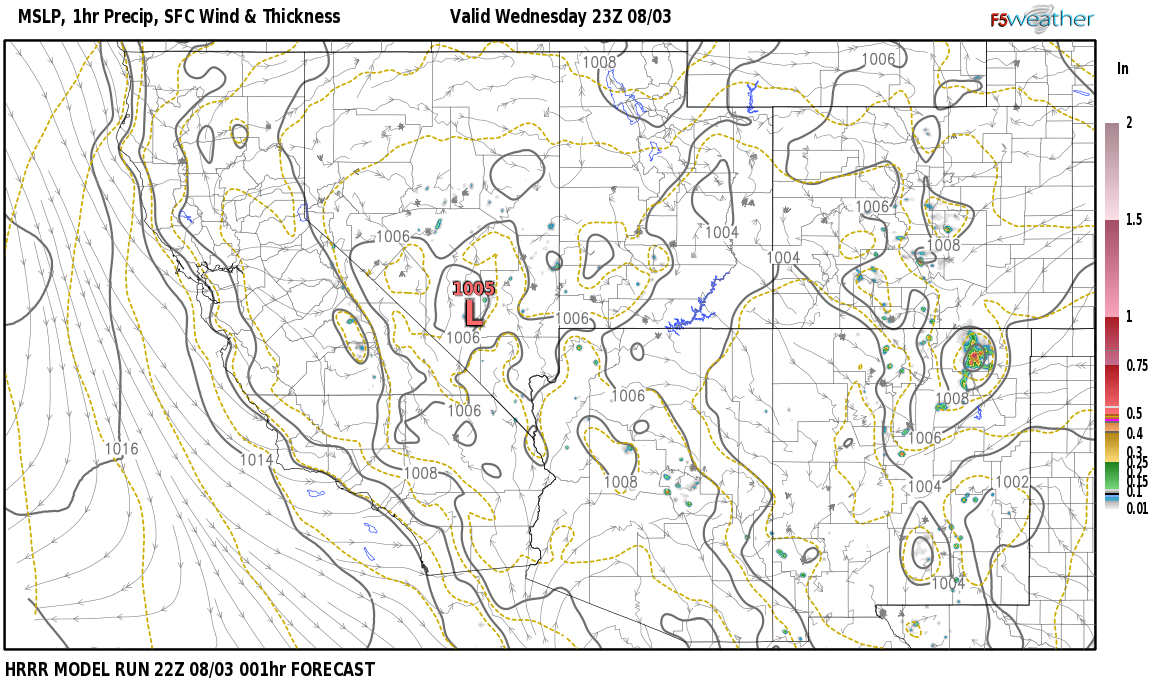 Current surface weather map around Churchill County, NV