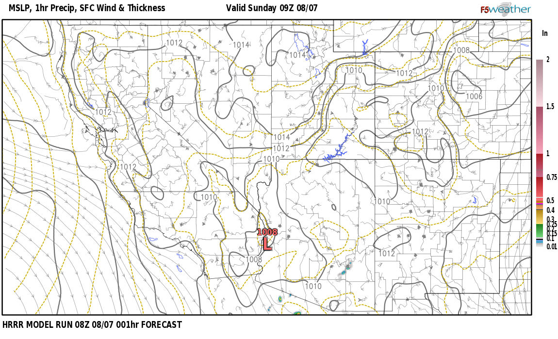 Current surface weather map around McKinley County, NM