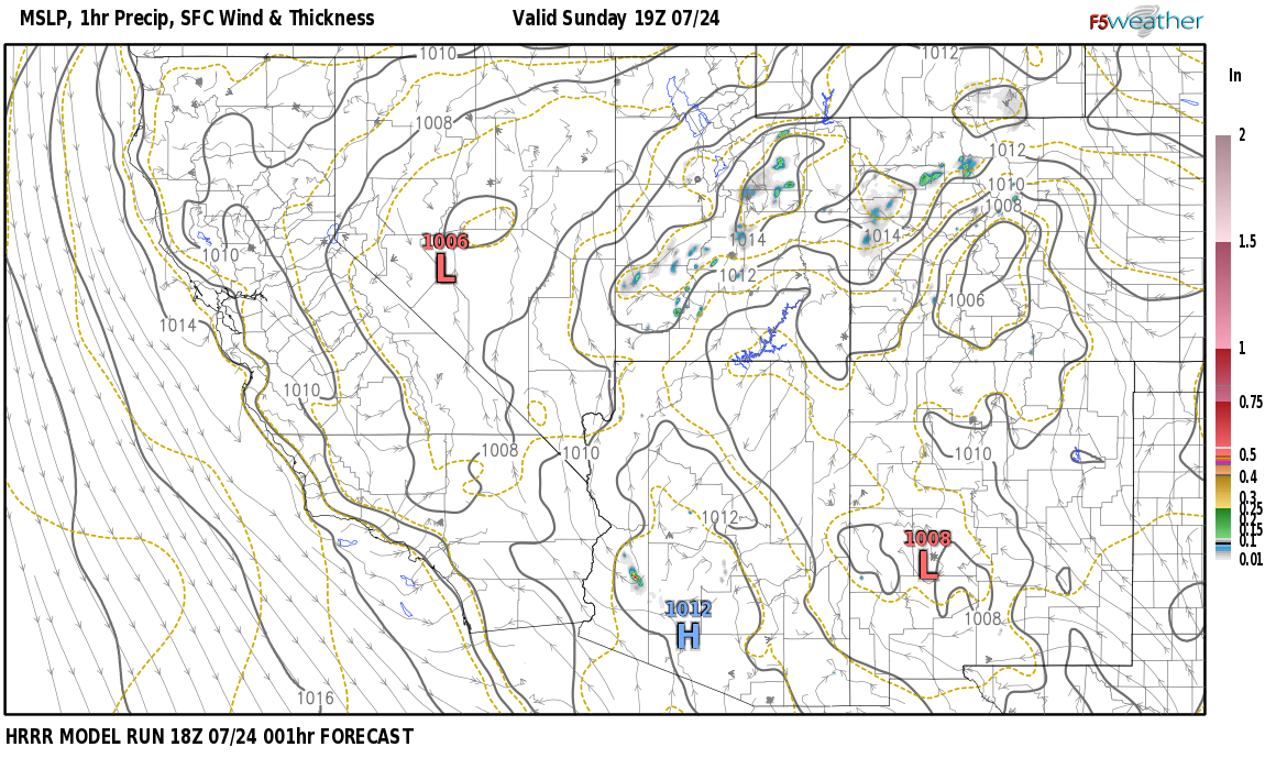 Current surface weather map around Grant County, NM