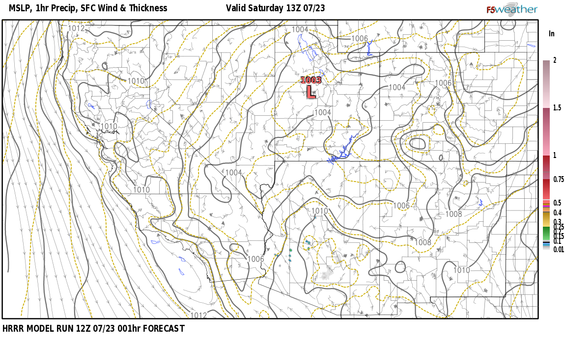 Current surface weather map around Esmeralda County, NV