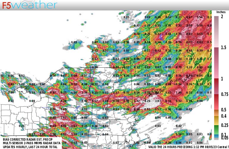 New England Live Regional NEXRAD Radar Estimated Precipitation