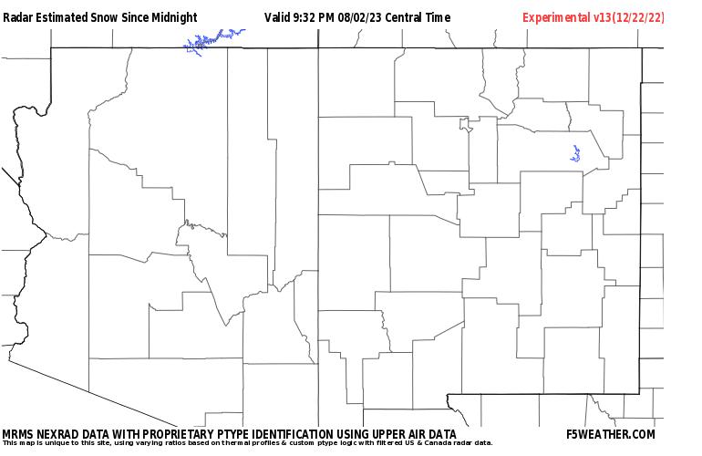 Desert Southwest Live Regional NEXRAD Radar Snowfall Estimate Image