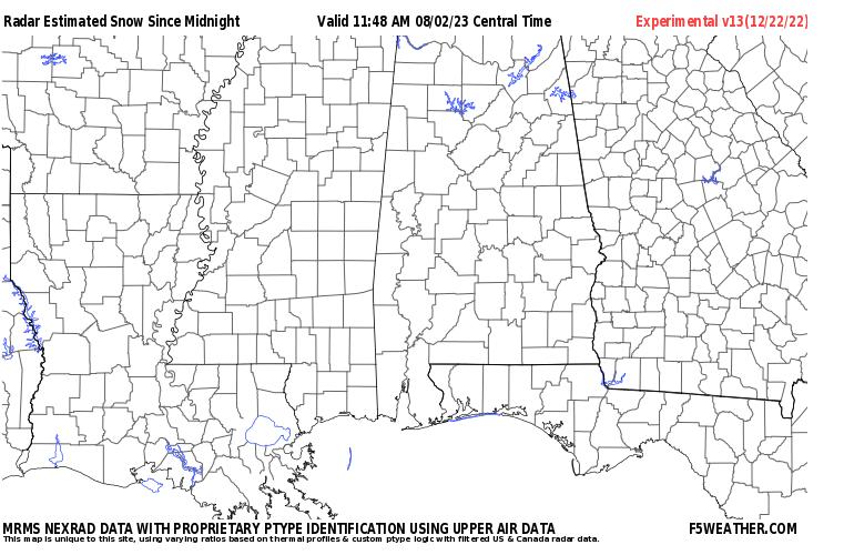 Dixie Live Regional NEXRAD Radar Snowfall Estimate Image
