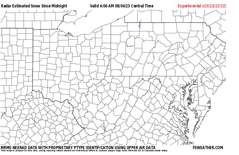 Mid Atlantic Live Regional NEXRAD Radar Snowfall Estimate Image