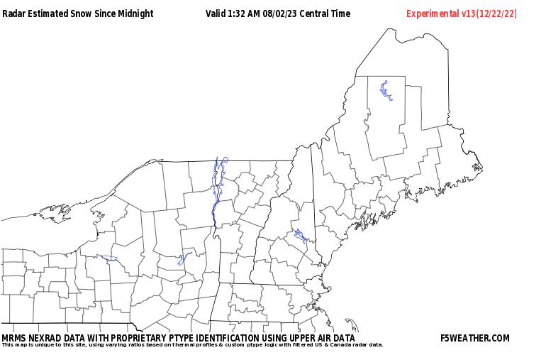 New England Live Regional NEXRAD Radar Snowfall Estimate Image