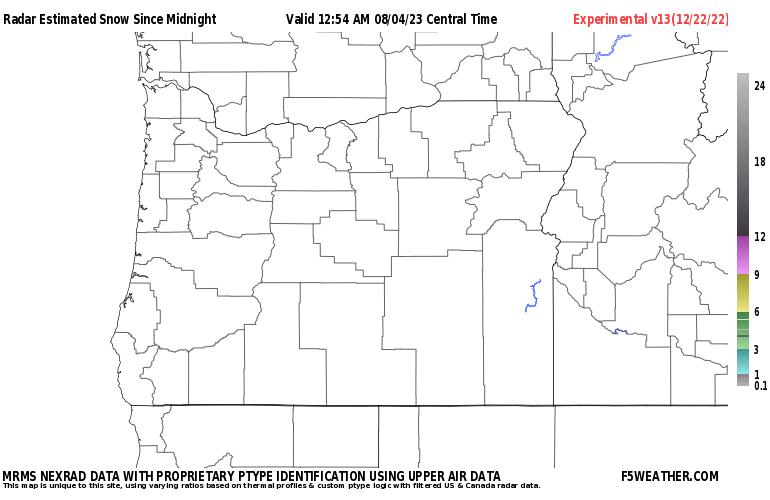 Oregon Live Regional NEXRAD Radar Snowfall Estimate Image