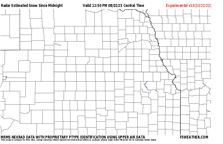 Great Plains Live Regional NEXRAD Radar Snowfall Estimate Image