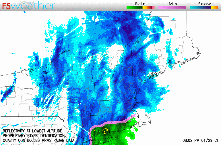 NEXRAD radar image showing snow and rain areas.